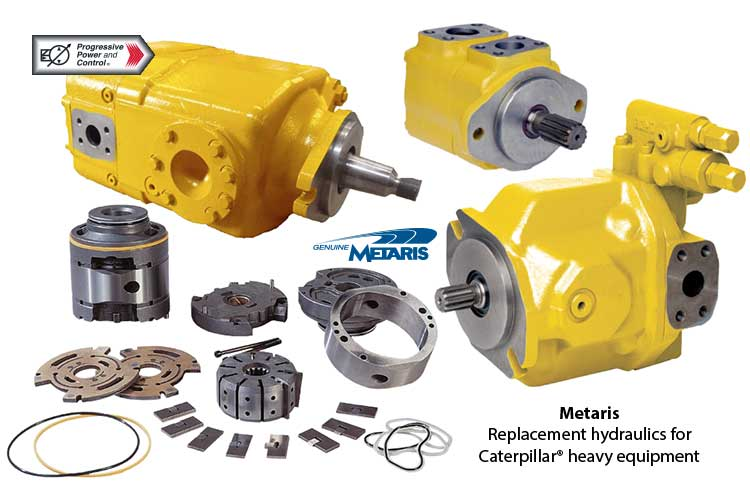 Metaris hydraulic replacement pumps for Caterpillar heavy