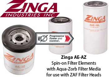 Zinga Aqua-zorb filter media in model AE and AZ spin-on filter elements