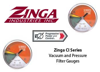 Zinga CI filter gauges measure vacuum and pressure