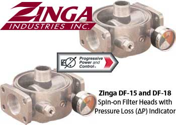 Zinga DF-15 and DF-18 Spin-on Filter Heads with