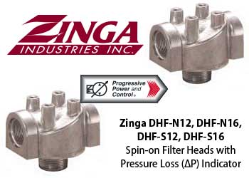 Zinga DHF-N12, DHF-N16, DHF-S12, DHF-S16 spin-on fileter head with optional pressure loss indicator