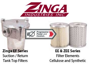 Zinga EF return suction tank top filter with EE and ZEE filter element