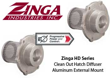 Zinga HD Clean Out Hatch Diffuser in Aluminum with External Mount