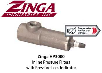 Zinga inline pressure filter with pressure loss indicator - model HP3000