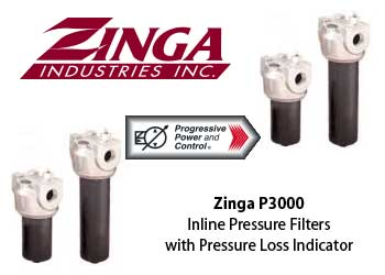 Zinga P3000 series pressure filter with pressure loss indicator