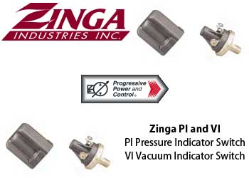 Zinga PI pressure indicator switch and VI vacuum indicator switch