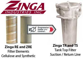 Zinga TR and TS series tank top hydraulic filters with RE and ZRE filter elements