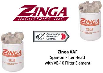 Zinga VAF spon-on filter head with VE-10 filter element