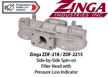 Zinga ZDF Side-by-Side Spin-on Filter Head with Pressure Loss Indicator