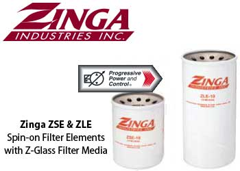 Zinga spin-on filter elements models ZSE and ZLE with -glass filter media